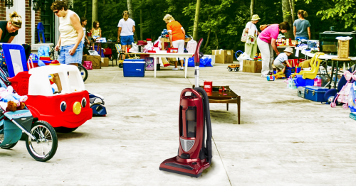 Chance Of A Lifetime: Nobody Is Watching And You Could Probably Just Take The Vacuum Cleaner From This Yard Sale Without Paying