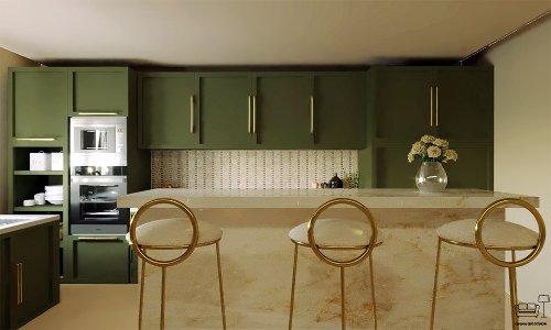 Cozy dark green kitchen | Interior Designio
