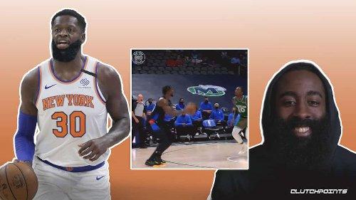 VIDEO: Knicks' Julius Randle goes full James Harden on step-back splash to close 3rd quarter