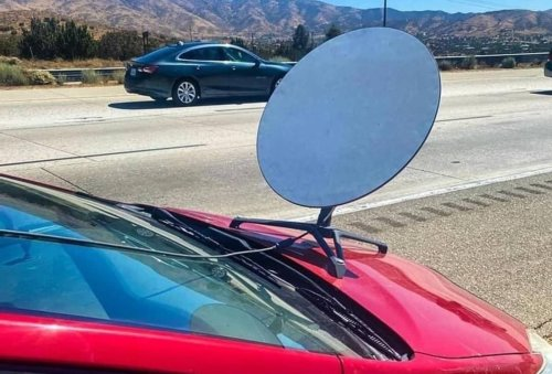California Highway Patrol tickets driver with apparent SpaceX Starlink dish bolted to car hood