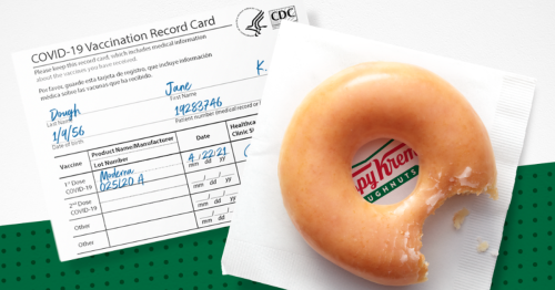 Krispy Kreme's offering two free doughnuts today if you have the vaccine
