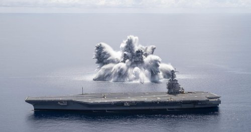 See the US Navy's $13 billion warship go through an explosive 'shock trial'