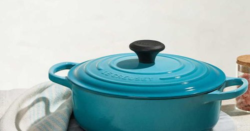 A large Le Creuset Dutch oven, cast iron roaster and stockpot are on sale