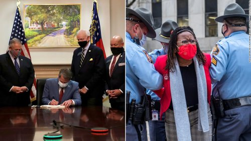 These two photos show who Georgia's new elections law benefits -- and hurts