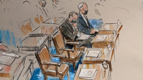 Sketches of senators and empty desks during Day 3 of the impeachment trial