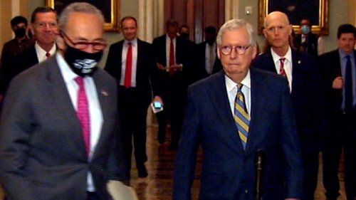 Schumer cuts off McConnell before press conference