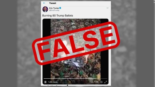 Viral 'ballot' burning video shared by Eric Trump is fake
