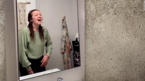 Woman's bathroom mirror discovery goes viral