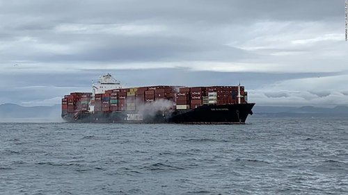 Containers ablaze on cargo ship off British Columbia