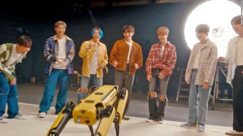 Dancing robot dog teams up with popular K-pop band BTS