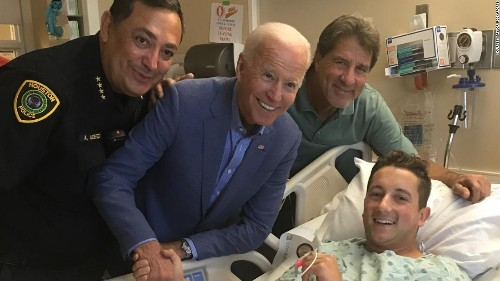 Then-candidate Joe Biden made a secret hospital visit to meet a wounded police officer