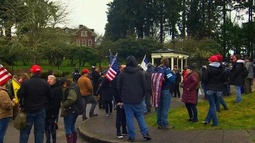 Pro-Trump demonstrators enter grounds of Washington governor's mansion as protesters gather across the country