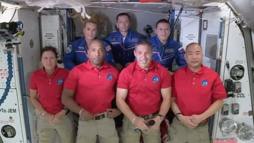 It's a full house on the space station with 7 people — and Baby Yoda