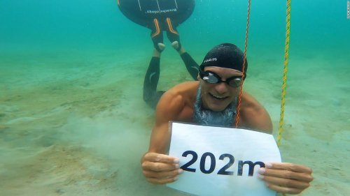 Freediver swims 662 feet underwater on one breath