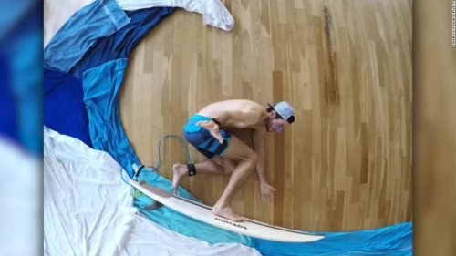 Man gets creative with surfing video in his apartment