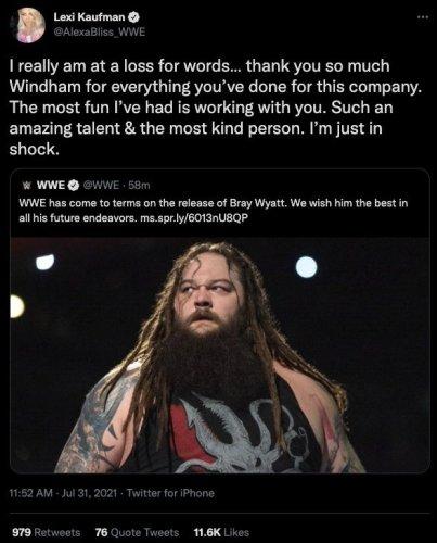 WWE: Alexa Bliss and Braun Strowman React to Bray Wyatt Release