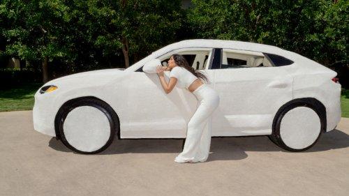 Exclusive: See Kim Kardashian's Lamborghini Wrapped in SKIMS Cozy Fabric