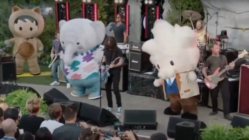 Foo Fighters rock out on stage with Salesforce mascots: Watch