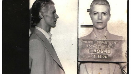 Mug shots of rock stars from the 1930's to the 1980's   Considerable