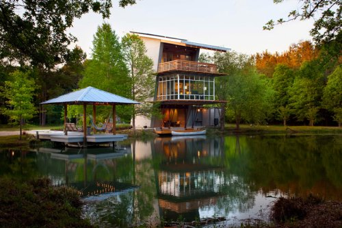 Holly & Smith Architects Design A Home Overlooking A Pond In Louisiana