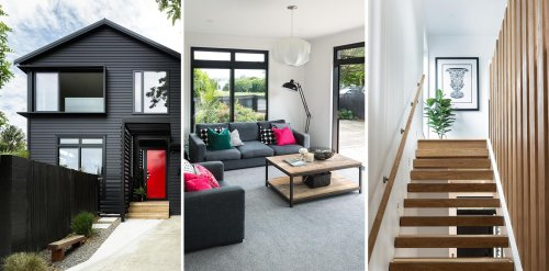 The Black Exterior Of This Home With A Bold Red Front Door Hides A Light Interior Palette