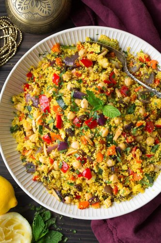 Moroccan Couscous with Roasted Vegetables Chick Peas and Almonds