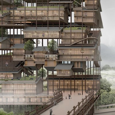 A Skyscraper Made of Stacked Farmhouses, Lifted by Crane Into the Structure - Core77