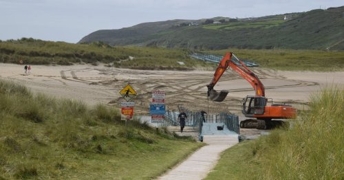 Summer is officially over as the pontoon bridge at Barleycove is taken away