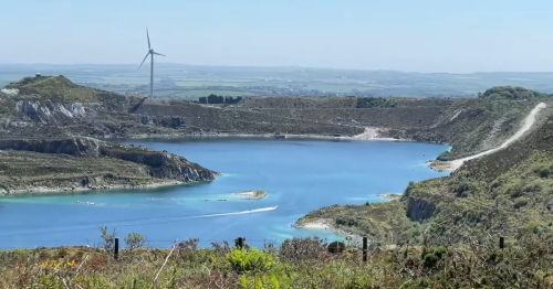 People filmed water skiing in one of Cornwall's clay pits