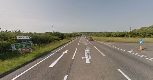 Car on A30 smashed into concrete blocks that fell from lorry