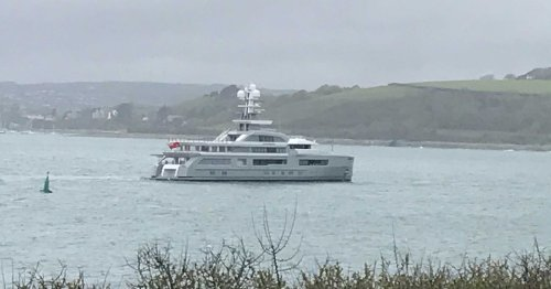 Jaw-dropping superyacht is sailing off coast of Cornwall