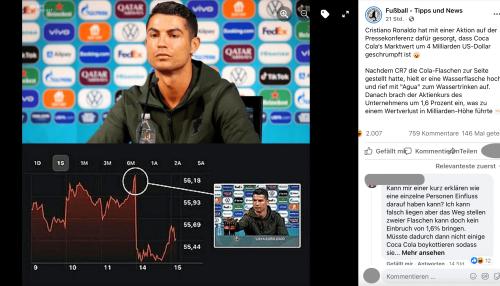 Keine Belege, dass Cristiano Ronaldo der Auslöser für den Kursfall von Coca-Cola war