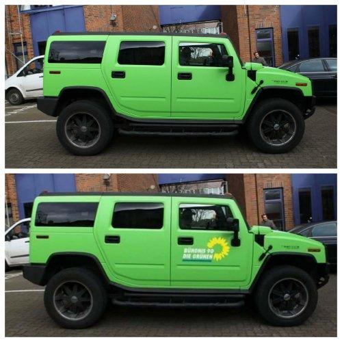 Foto eines Geländewagens mit Grünen-Logo ist eine Fälschung
