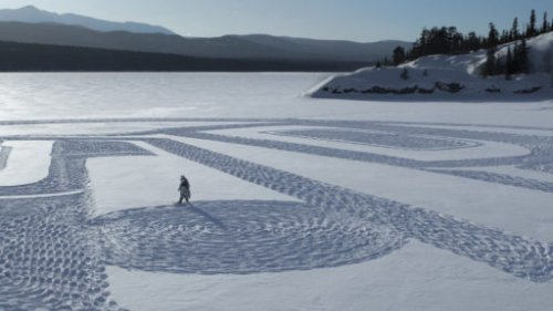 Tlingit artist creates massive snowshoe art piece on frozen Yukon lake