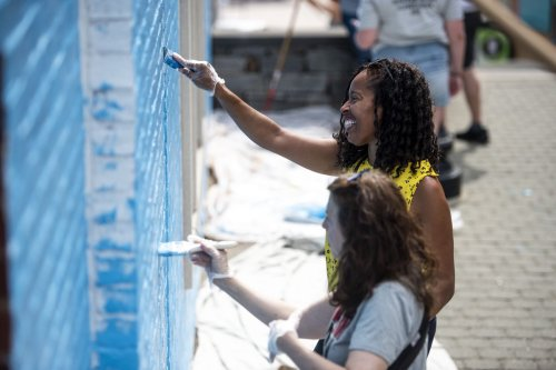 A mural inspired by Martin Luther King, Jr and other Black leaders is being painted on the side of the library in West Hartford Center. More than 30 murals are coming to communities across Connecticut.