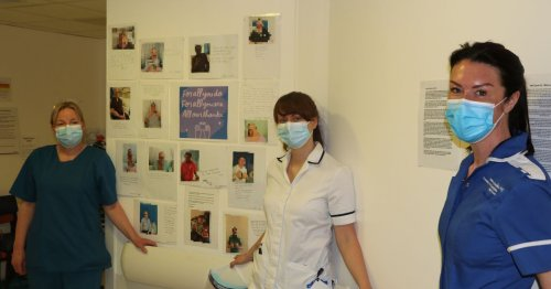 Motivational wall created at UHCW with messages from Covid-19 survivors