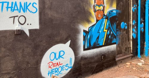 Look: Incredible DC and Marvel Superhero street art tribute to NHS heroes