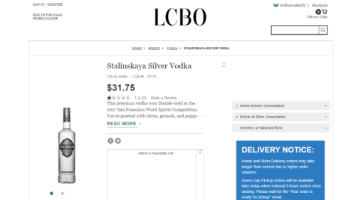 LCBO pulls vodka brand from shelves following complaints that name resembled Stalin