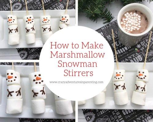 Marshmallow Snowman Stirrers | Crazy Adventures in Parenting