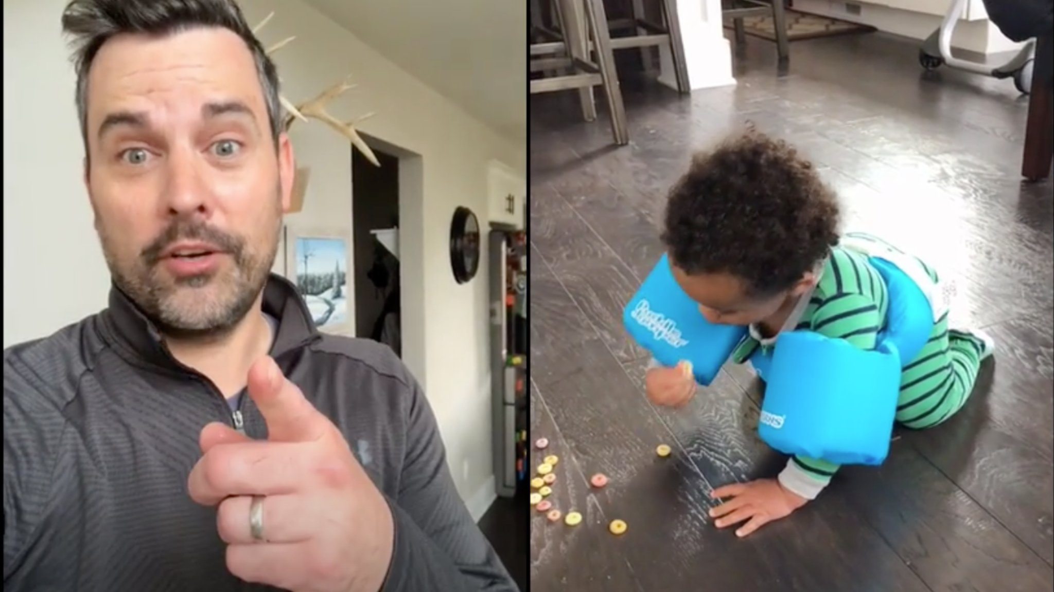 Dad Jokingly Shares 'Clever' Idea for Preventing Toddlers from Eating Off the Floor