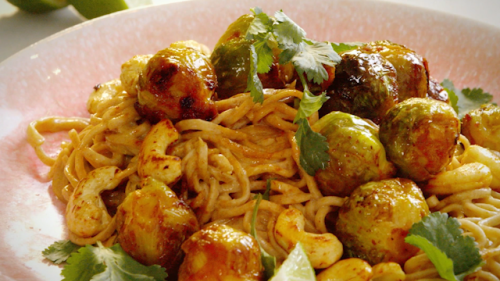 Ching's creamy coconut noodles with roasted sprouts