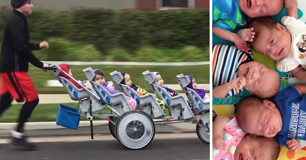 Runner Dad Pushes Quintuplets To Honor Wife's Pregnancy — And Breaks World Record
