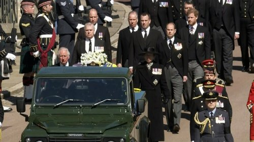 Prince Philip makes final journey followed by Charles, William and Harry