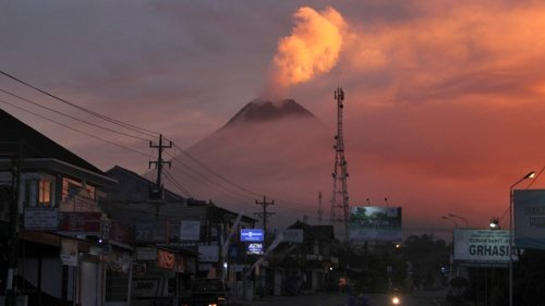 Lava streams from crater as Indonesia's Mount Merapi erupts