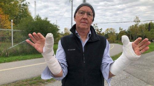 Veteran cyclist breaks both wrists after hitting a pothole near an LRT construction site