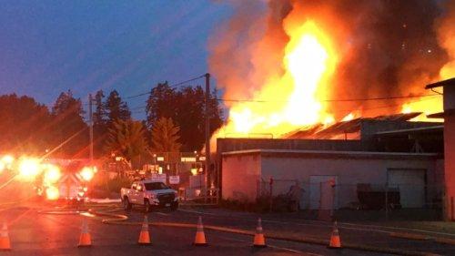 Fire rips through Salt Spring Island lumberyard