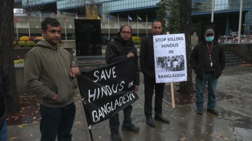 Hindu community holds peaceful protest against attacks in Bangladesh
