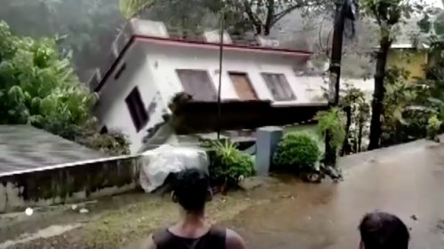 House swept away by floodwaters amid heavy rains in India
