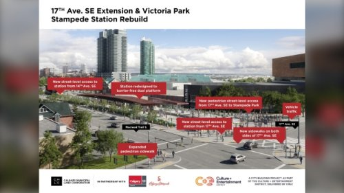 'Huge east-west connectivity': Work to upgrade Victoria Park LRT station, extend 17th Avenue S.E. begins