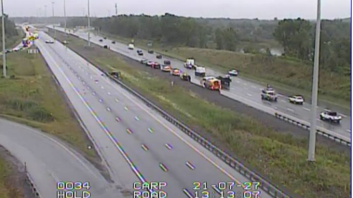 One person treated for life-threatening injuries after Hwy. 417 crash